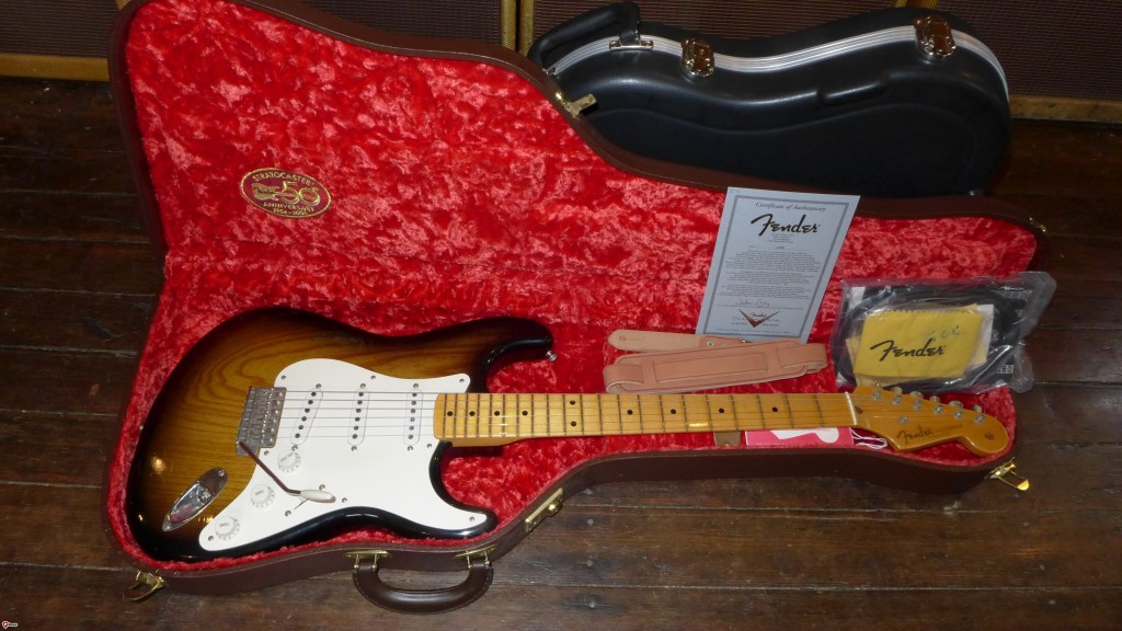This is a John Cruz Masterbuilt 50th Anniversary Stratocaster. These were made in 2004 to celebrate 50 years of the Strat. These are lightly aged (closet classic) and are as new. I have two to sell. Each comes with all the paperwork and case candy and a poodle case AND a molded case. $4800 (each)