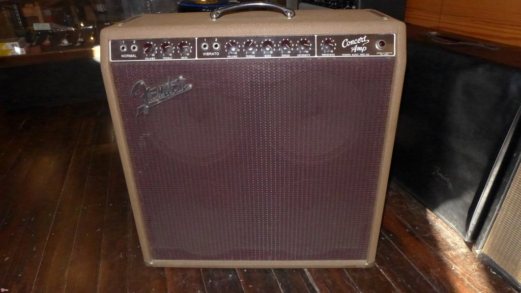 The brown Concert amp comes in a few configurations. Most have those really awful Oxford speakers that Fender put in after their contract with Jensen ran out. If you're lucky, you can find the one with the 4 Jensen P10Q's. That's this one. Oh, and it's mint. Had one cap changed and some of the tubes. Great tone. This is a museum grade amp. $3600