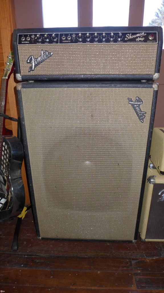 "My first professional grade amp was a Showman 15, so I have a personal attachment to them. These are great amps. Loud, clean and articulate. Who needs reverb anyway? A 15"" JBL can handle anything including the nastiest pedals you can throw at it.  This is an early 65 (Fender Electric). All original except for the filter and coupling caps. No footswitch. $1800"