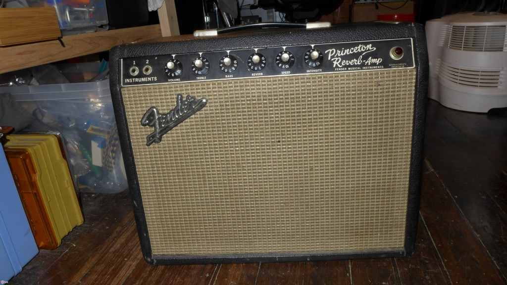 This 66 Princeton Reverb is ready to gig. Completely recapped. All original trannies, 3 prong AC, date correct C10R. Taki cover. Repro footswitch. $2400