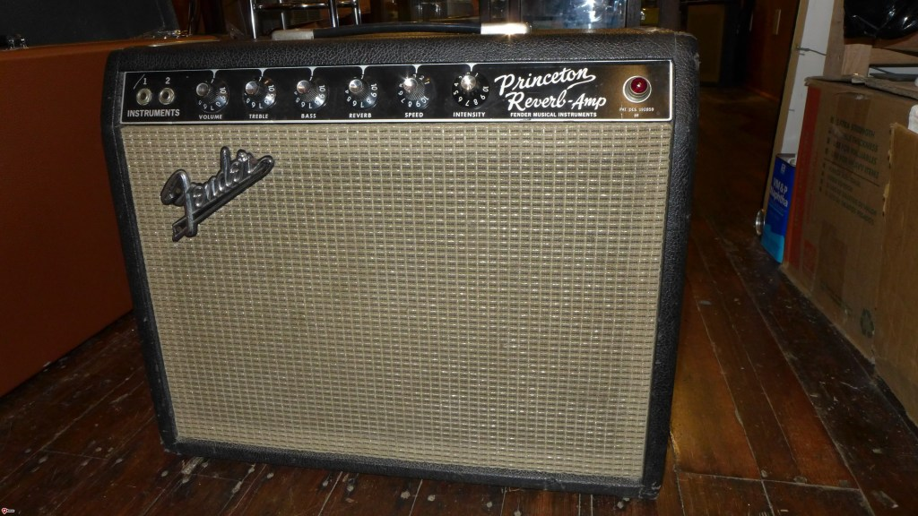 67 Princeton Reverb. Has a '61 power tranny. Has a date correct Jensen C10Q which is big upgrade from the crappy Oxfords that came in most of these. Nice clean giggle amp. Filter caps are done. $2500