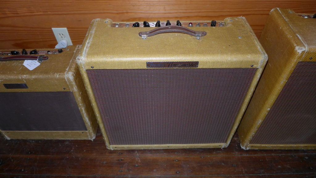 My all time favorite amp is the very user friendly 1956 26 watt 3-10 tweed 5E7 Bandmaster. All three Jensen P10R's are original (date codes are 55) with their original cones. All electronics are original  with the exception of one capacitor.