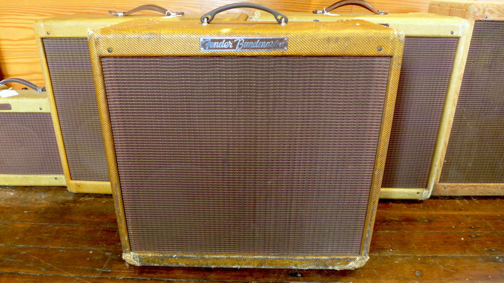 """My all time favorite amp is the narrow panel Bandmaster. 26 watts of pure Fender goodness through 3 10"""" Jensen P10R's. Sweet when you want sweet and nasty when you need nasty. All original except for 5 caps. Speakers have original cones so if you want to gig this one, put a set of re-cones or modern speakers in it. 60 year old paper doesn't like to be pushed too hard. $11500"""