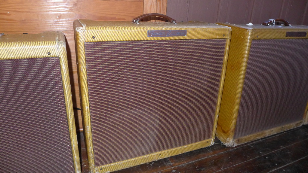 Early 1960 5F6-A  Fender Bassman. All original tweed and grill. Original Jensen P10Rs (3 original cones, one possible re-cone). All date coded 42nd week of 59. All electronics are original except filter and bias caps and on-off and standby switches. Best sounding amp in the house. $12000