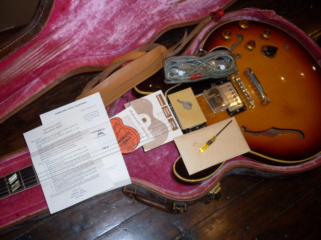 "The folks at Gibson loaded up the case with lots of fun stuff back in the day. This 59 has just about everything except the Varitone instructions and the polishing cloth. It even has the ""pick of the stars"" pick case and the original plastic bag for the stereo cable. It probably had two keys but c'mon, I lose stuff in a month let alone 56 years."