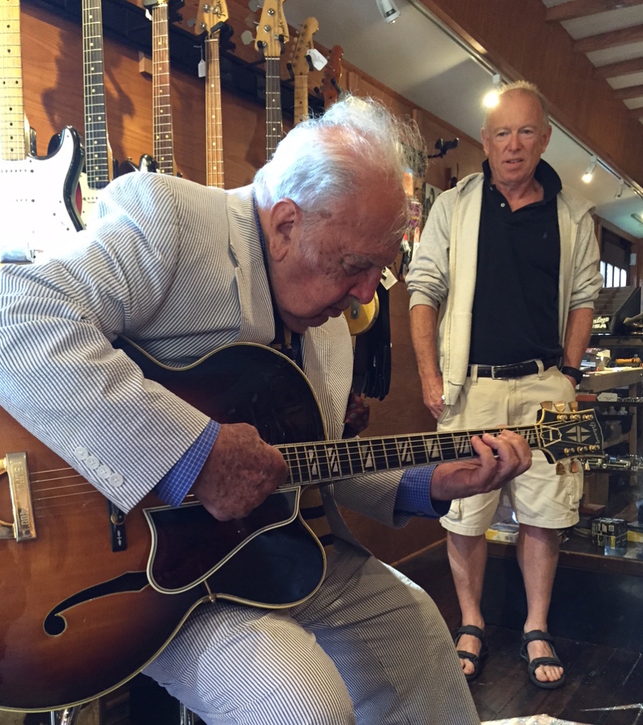 Bucky Pizzarelli stops by OK Guitars for a little talking' and picking'. Yes, that's me in the background trying to figure out what chords he's playing.